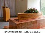 funeral casket  coffin burial ... | Shutterstock . vector #687731662