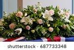 funeral casket  coffin burial ... | Shutterstock . vector #687733348