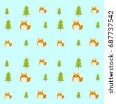 seamless pattern vector of fox... | Shutterstock .eps vector #687737542