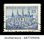 sweden   circa 1953  a stamp...   Shutterstock . vector #687739696