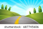 cartoon landscape illustration. ... | Shutterstock .eps vector #687745606
