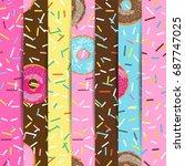 set of seamless pattern bright... | Shutterstock .eps vector #687747025