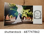pages of wedding photobook or... | Shutterstock . vector #687747862