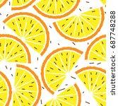 lemon and orange seamless... | Shutterstock .eps vector #687748288