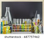 laboratory glass test tubes in... | Shutterstock . vector #687757462