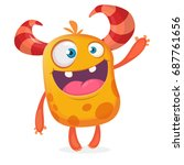 happy cartoon funny monster.... | Shutterstock .eps vector #687761656