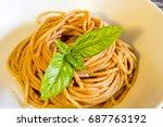 close up spaghetti whit tomato... | Shutterstock . vector #687763192