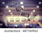 finger ready smartphone concept ... | Shutterstock . vector #687764962