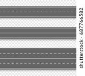 set of straight asphalt roads.... | Shutterstock .eps vector #687766582