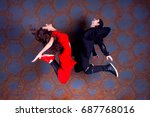 dancers guy and girl jumping... | Shutterstock . vector #687768016