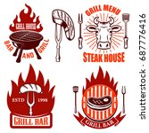 set of grill emblems and labels.... | Shutterstock .eps vector #687776416
