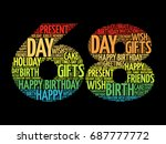 happy 68th birthday word cloud... | Shutterstock . vector #687777772
