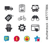 transport icons. truck  bicycle ...