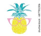 pineapple with glasses  vector  ... | Shutterstock .eps vector #687781306