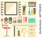 vector flat makeup worker's... | Shutterstock .eps vector #687782692