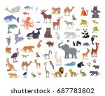 big set of wild animals cartoon ... | Shutterstock . vector #687783802