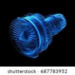 x ray style turbofan jet engine ... | Shutterstock . vector #687783952