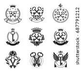 ancient keys emblems set.... | Shutterstock .eps vector #687791212