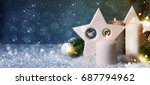 christmas  background with... | Shutterstock . vector #687794962