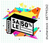 summer sale memphis style web... | Shutterstock .eps vector #687795262