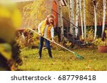 happy child girl playing little ... | Shutterstock . vector #687798418
