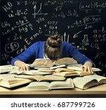 student hard study  tired bored ... | Shutterstock . vector #687799726