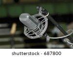 recording studio cradle microphone closeup - stock photo