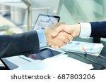 business people shaking hands ... | Shutterstock . vector #687803206