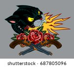 image of a black panther  with... | Shutterstock .eps vector #687805096