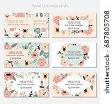 six business cards with floral... | Shutterstock .eps vector #687805708