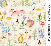 seamless pattern with cute... | Shutterstock .eps vector #687806392
