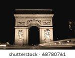 the arc de triomphe at night.... | Shutterstock . vector #68780761