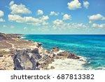 rocky coastline of south end ... | Shutterstock . vector #687813382