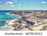 rocky coastline of south end ... | Shutterstock . vector #687813412