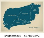 modern map   west sussex county ... | Shutterstock .eps vector #687819292