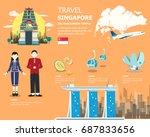 singapore landmarks map for... | Shutterstock .eps vector #687833656