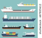 cargo vessels and tankers... | Shutterstock .eps vector #687835612