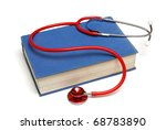 A medical book and stethoscope isolated on a white background. - stock photo
