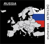eu and europe map with russia... | Shutterstock .eps vector #687841342