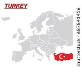 eu and europe map with turkey... | Shutterstock .eps vector #687841456