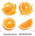 orange juice. fresh fruit and... | Shutterstock .eps vector #687855418