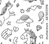 cute sketch doodle style white... | Shutterstock .eps vector #687855598