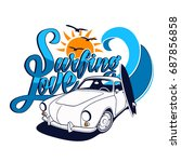 surfing love vector t shirt...   Shutterstock .eps vector #687856858