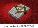gold symbol of the freemasonry  ... | Shutterstock . vector #687857842