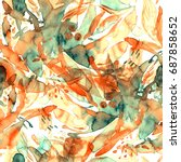 painted watercolor pattern.... | Shutterstock . vector #687858652