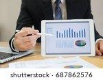 businessman show dashboard data ... | Shutterstock . vector #687862576