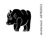 black rhinoceros  vector | Shutterstock .eps vector #687865012
