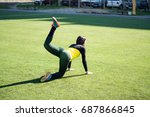 beautiful sporty woman doing...   Shutterstock . vector #687866845