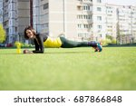 beautiful sporty woman doing...   Shutterstock . vector #687866848