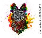 dog head  face sheepdog. grunge ... | Shutterstock .eps vector #687874192